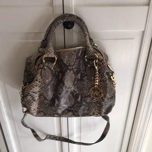 New Michael Kors snakeskin satchel bag